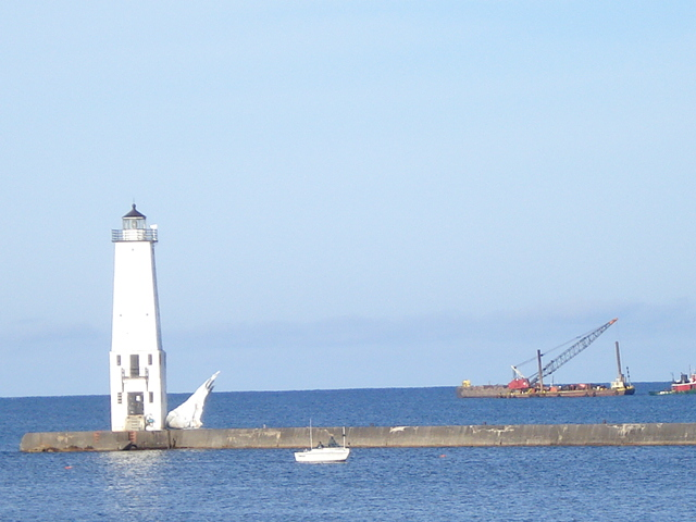 Barges on Lake Michigan, Frankfort Lighthouse