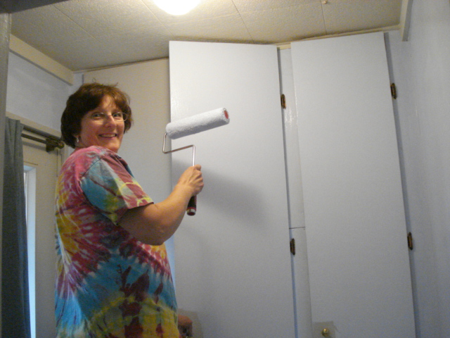 Cindy helping me paint the entry way