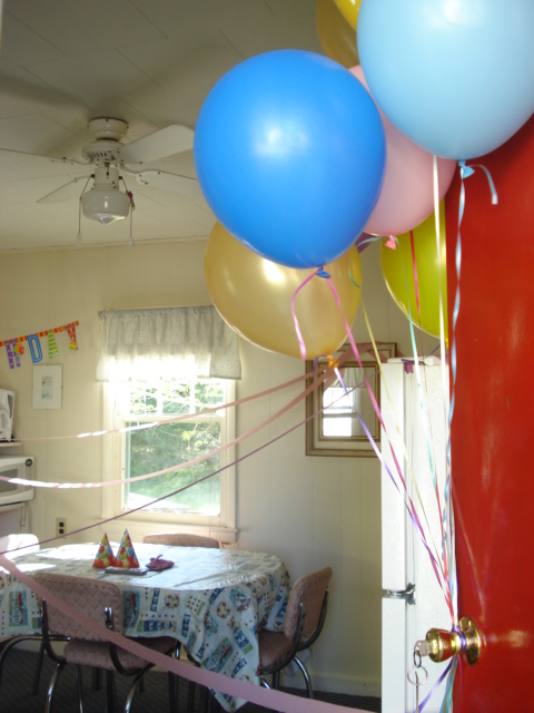 I went home to put the balloons on the door