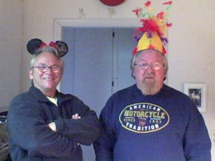 Mike 5 with ears and his friend Olaf the Horrible with my Cirque de Soleil hat