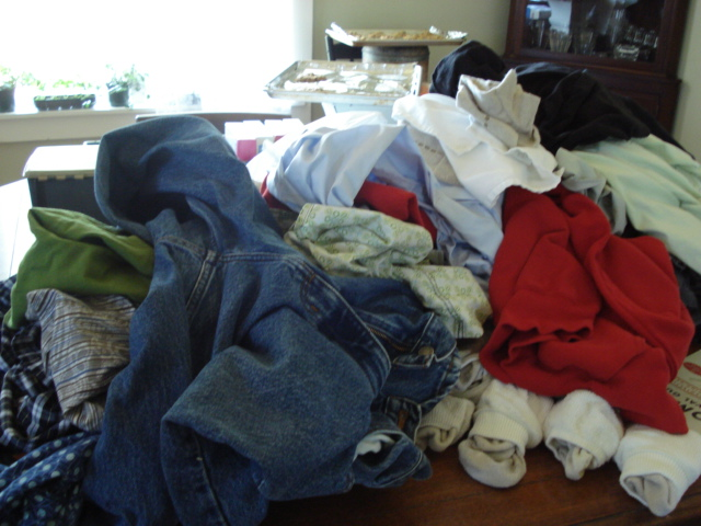 And a table full of unfolded laundry