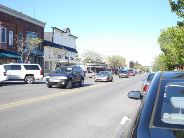Main Street facing east. Pretty busy