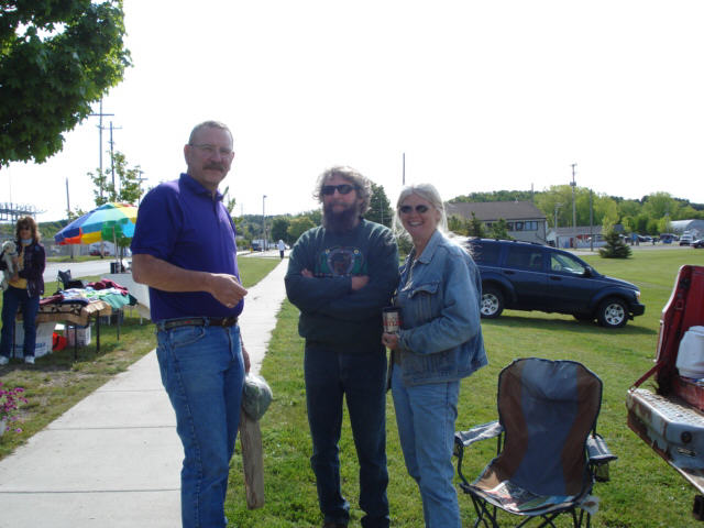 Mike with Bill Soper, the local stone mason and his girlfriend Connie, the gardener