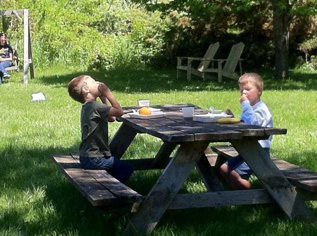 Breakfast at the Wayfarer with Isaac and Elias
